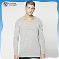 Custom scoop neck plain blank long sleeve soft cotton t shirt for men