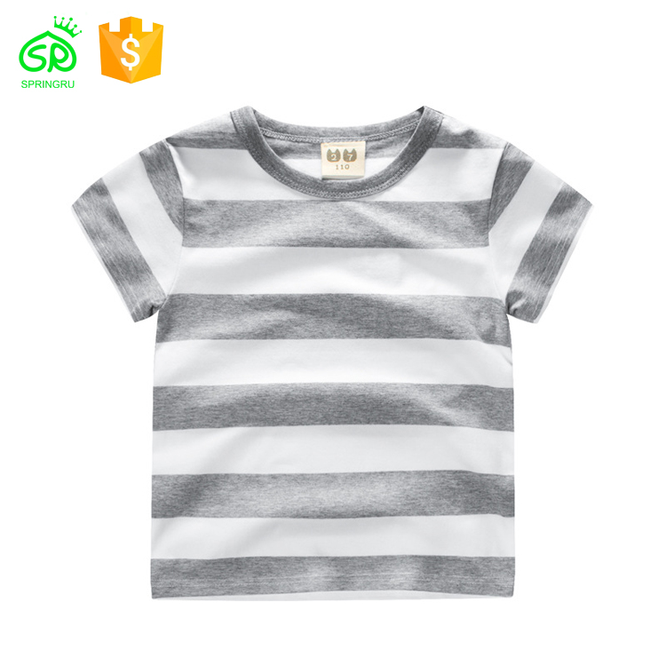Custom Stripe Kid Bamboo Cotton T-shirt With Woven Label