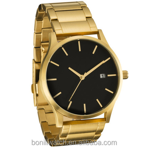 Luxury Brand Date Quartz Fashion Men Stainless Steel 18k Gold Watch