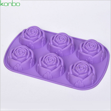 unique rose shape food grade silicone soap candle chocolate jelly cake mold