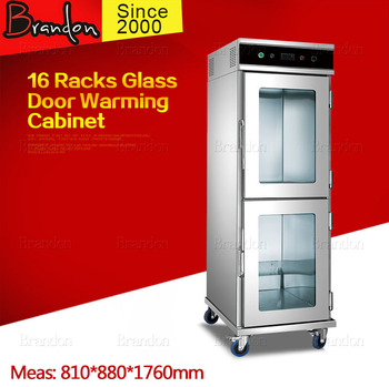 Elegant Looking Glass Door Warming Cabinet / 16 Racks Commercial ...
