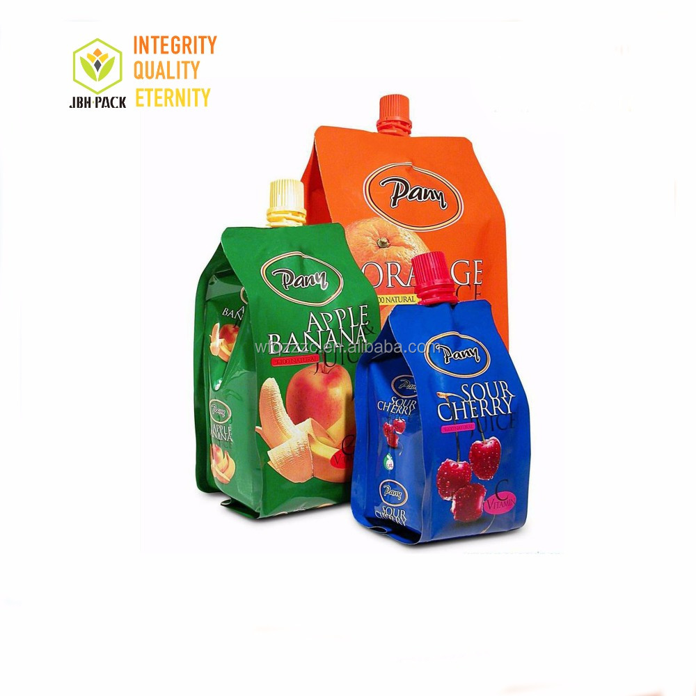 Juice pouch manufacturers plastic straw bag rice paper stand up pouch with spout