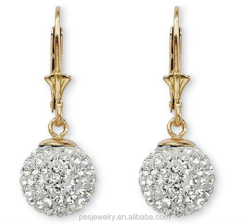 Round Crystal 18k Gold plated Sterling Silver Ball Drop Earrings