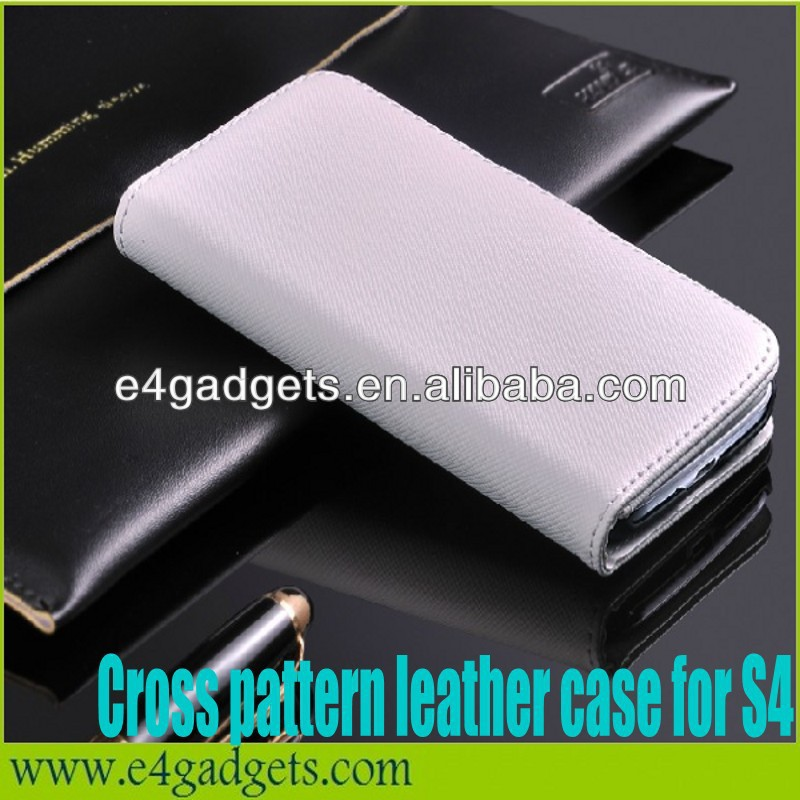Top selling Cross pattern Genuine leather belt clip holster case for samsung galaxy s4 i9500