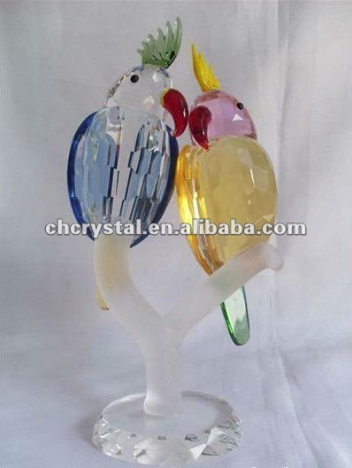 crystal crafts,crystal gifts,lovely colorful crystal birds parrot MH-D0258