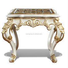 High End Handmade Italian Ivory White Side Table with Marble Medallion Table Top BF11-06223e
