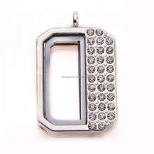 2016 New Arrival Silver Plated Glass Memory Floating Rhinestone Zinc Alloy Charm Locket