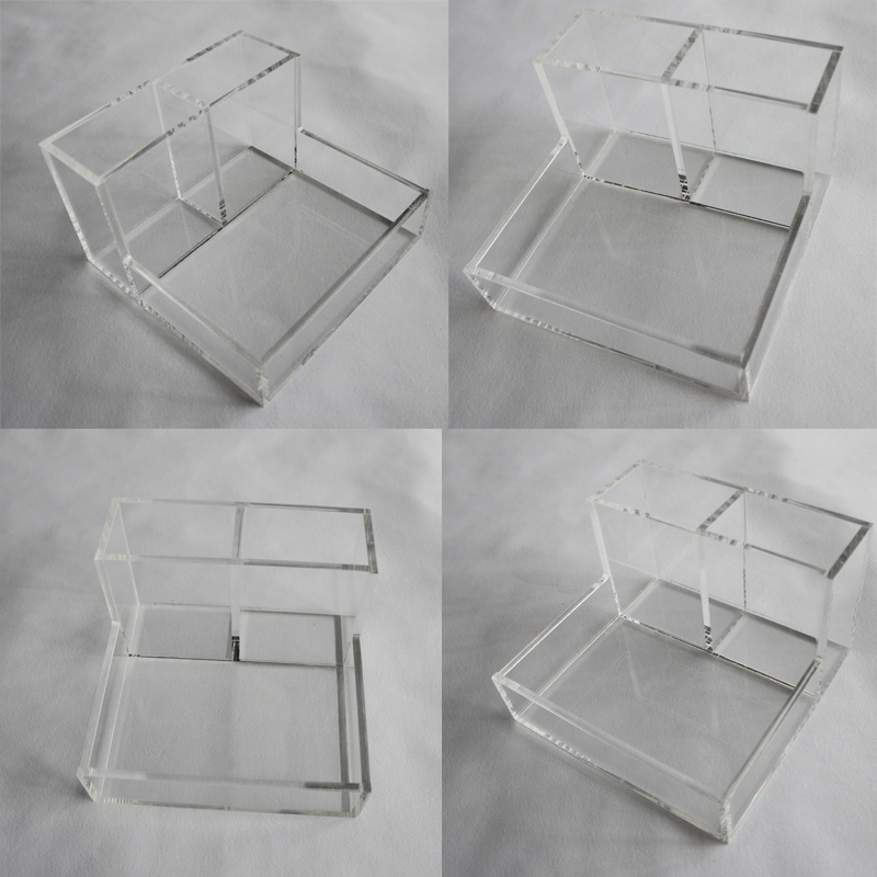 Custom Premium Clear Acrylic Desktop Office Supplies Organizer w/ Post It Note Pad Holder, Mail Storage & 3 Pencil Slots