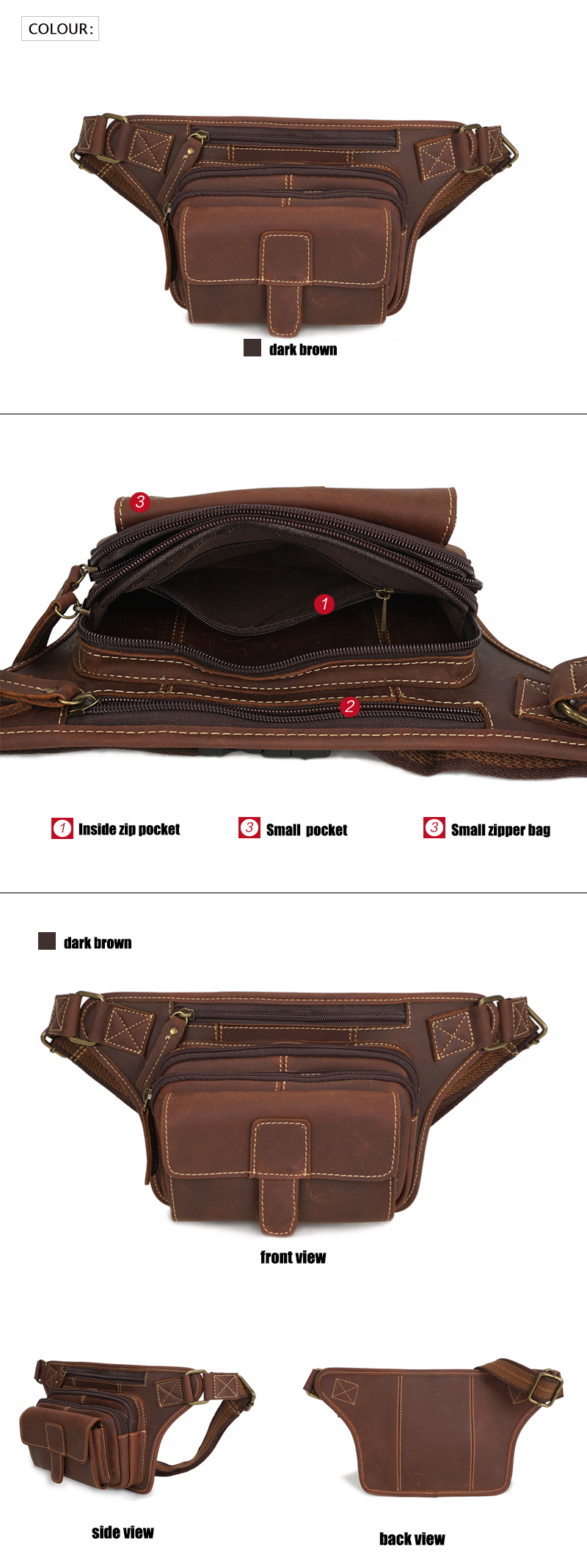 YD-3522 New arrival unisex crazy horse leather waist fanny pack