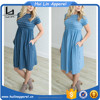 trendy women clothing short sleeve striped pocket long blue dress