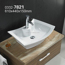7821 rectangle series Hot sale ceramic shampoo basin hair wash basin