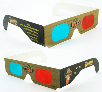 Dispossiable anaglyphic red /cyan paper card 3d glasses for 3d movies and book