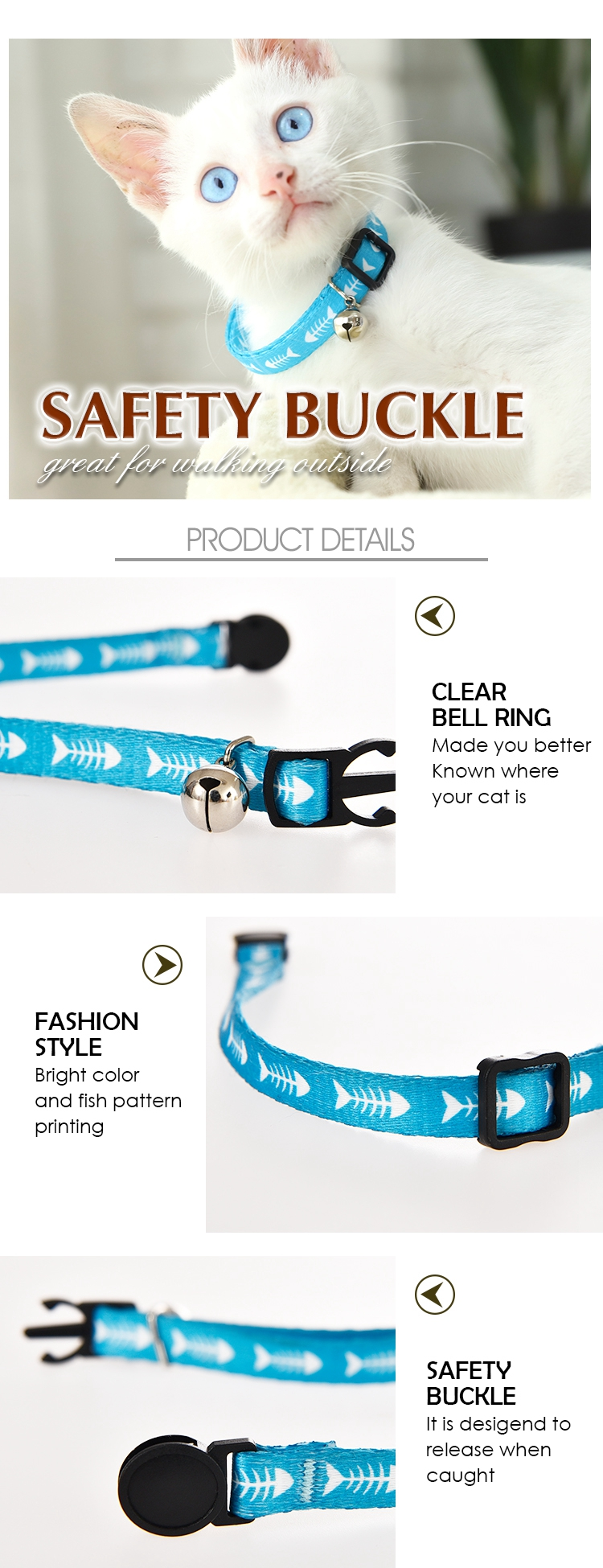 Tianyuan Pet Personalized Adjustable Blue Cute Nylon Cat Collar With Bell