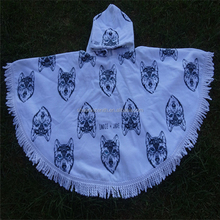 100%cotton terry velour printed round beach poncho for kids,hooded beach poncho round towel