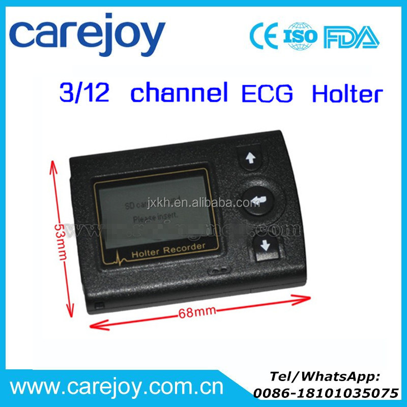 CE ISO approved 3/12 channel ECG Holter monitor recorder System 24 hour recording OSAS Analysis with USB interface