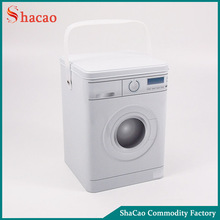 Laundry machine shaped washing powder tin container metal storage box