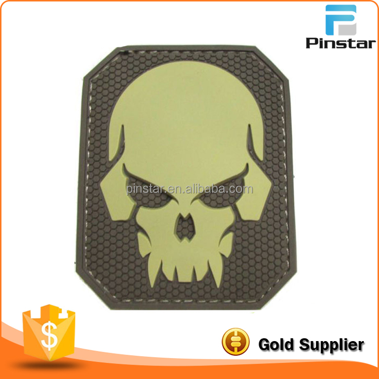 SKULL 3D PVC TACTICAL MILITARY BADGE US ARMY MORALE PATCH
