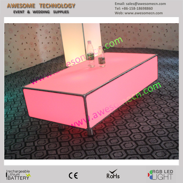 led luminous rectangle narrow clear acrylic end table for a modern home(TA120)