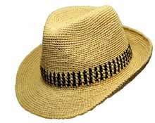 fashion raffia crochet straw fedora hat for mens in 2015 summer