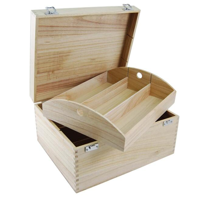 Popular design luxury tray hinged lid 6 bottle natural color tung wood hamper