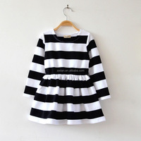 Simple Design Stripe Dress Low Cost Cotton Skirt Yiwu For Little Girl Wholesale