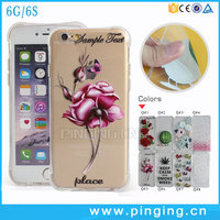 Waistline Design Drop Resistance Rose Painted Crystal Clear TPU Case For iPhone 6
