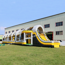 24m long biggest interactive challenge inflatable obstacle course type adult bounce house from Guangzhou inflatable factory