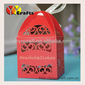 Decorative wedding favor box custom red wedding paper favor box with free ribbon