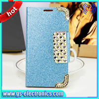 2014 NEW items luxury shinning stand wallet leather cover case for samsung galaxy s5 rhinestone leather cell phone cases for s5