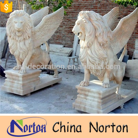 Hot sale white marble outdoor decoration lion with wings statue NTBM-L124A