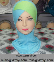 hot stylish muslim two tone crossover ninja inner underscarf,cover neck inner hijab