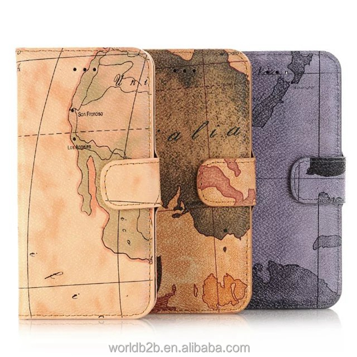 World Map Design PU Leather Folio Case for iPhone 7