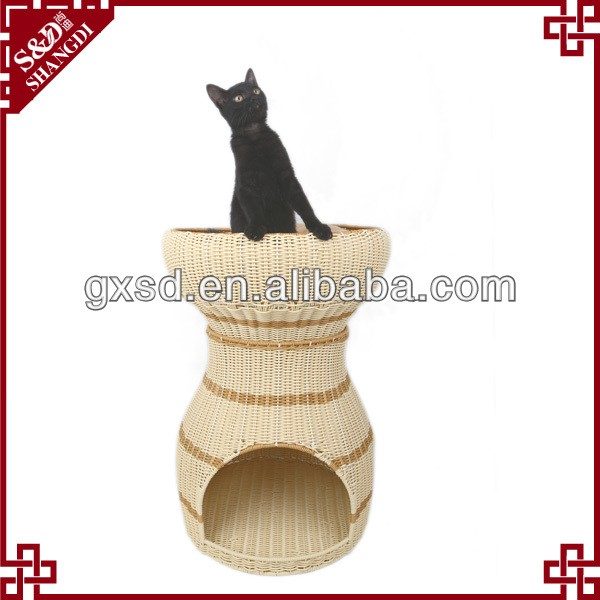 S&D China production good quality wicker rattan handmade durable cat , rabbit , tree cat , dog pet cat play house