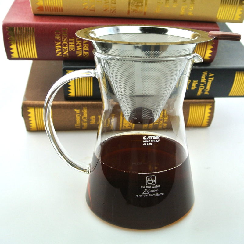 600ml Amazon hot sale espresso iced drip coffee machine heat resistant glass chemex cold brewer with 304 stainless steel filter