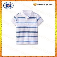 blue and white stripes 100% polo t-shirt wholesale for boys high quality pima cotton children polo shirt wholesale