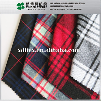 Soft texture check print fabric fabric woolen textile supplier