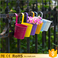 10Pcs / Set Non detachable Bucket Colony Garden Hanging Metal Flower Pot
