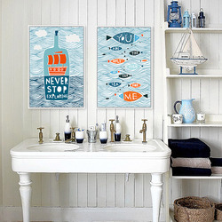 Cartoon Mediterranean Fish Ocean Motivational Typography Quote Art Prints Poster Wall Picture Canvas Painting No Frame Home Deco