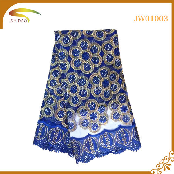 2017 American cheap wholesale royal blue fabrics net heavy beaded African cord lace fabric