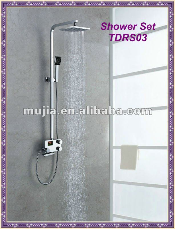 Practical thermostatic temperature digital control wall mounted adjustable shower