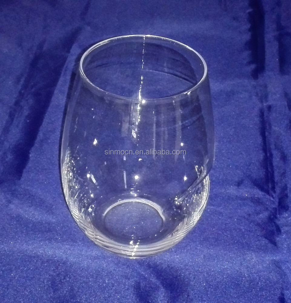 530ml stemless wine glass with thumb holder