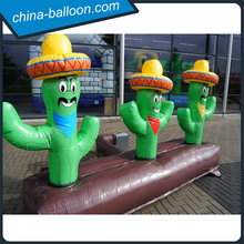 Funny inflatable cactus cartoon/green inflatable plant decoration/vivid inflatable model with hat for advertising