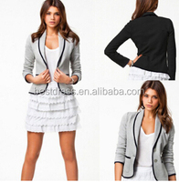 Wholesale Spring Jacket Women Plus size Fashion Single Breasted Turn Down Collor Slim Gray Short Jacket For Women Casual Coat