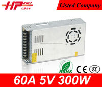 Factory outlet CE RoHS constant voltage single output led switching 60A 5V 300W 220v ac to dc converter power supply