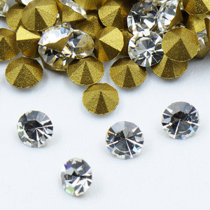 Best quality gold foiled point back MC crystal chaton rhinestones