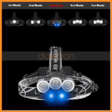 100000 lumen Cree Led Headlight Best Quality 5 Led Headlamp Rechargeable