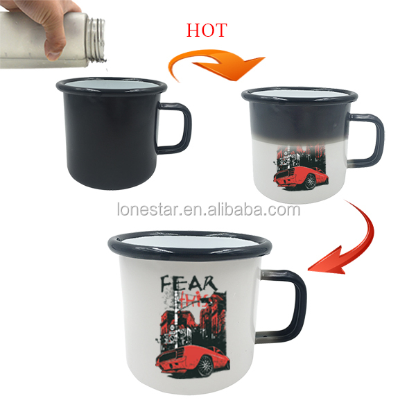 best selling products in america 350ml black design color iron cast enamel hot color changingcup juice cup with long handle