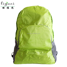 2015 hot selling green portable polyester school bag,new foldable travel Bag,high quality customizable laptop bag