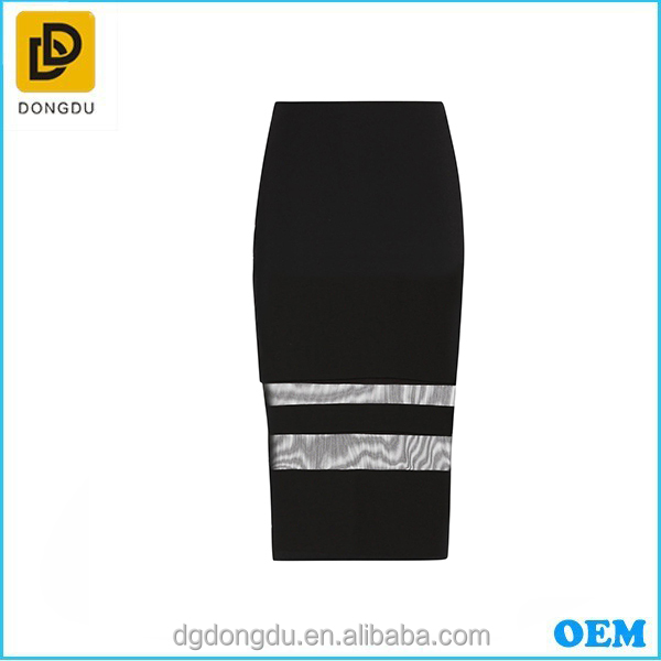 Custom 2016 Wholesale High Quality Lady Mesh Stripe Pencil Skirt