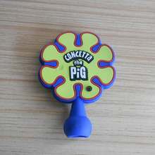Custom logo blue colored soft pvc pencil topper